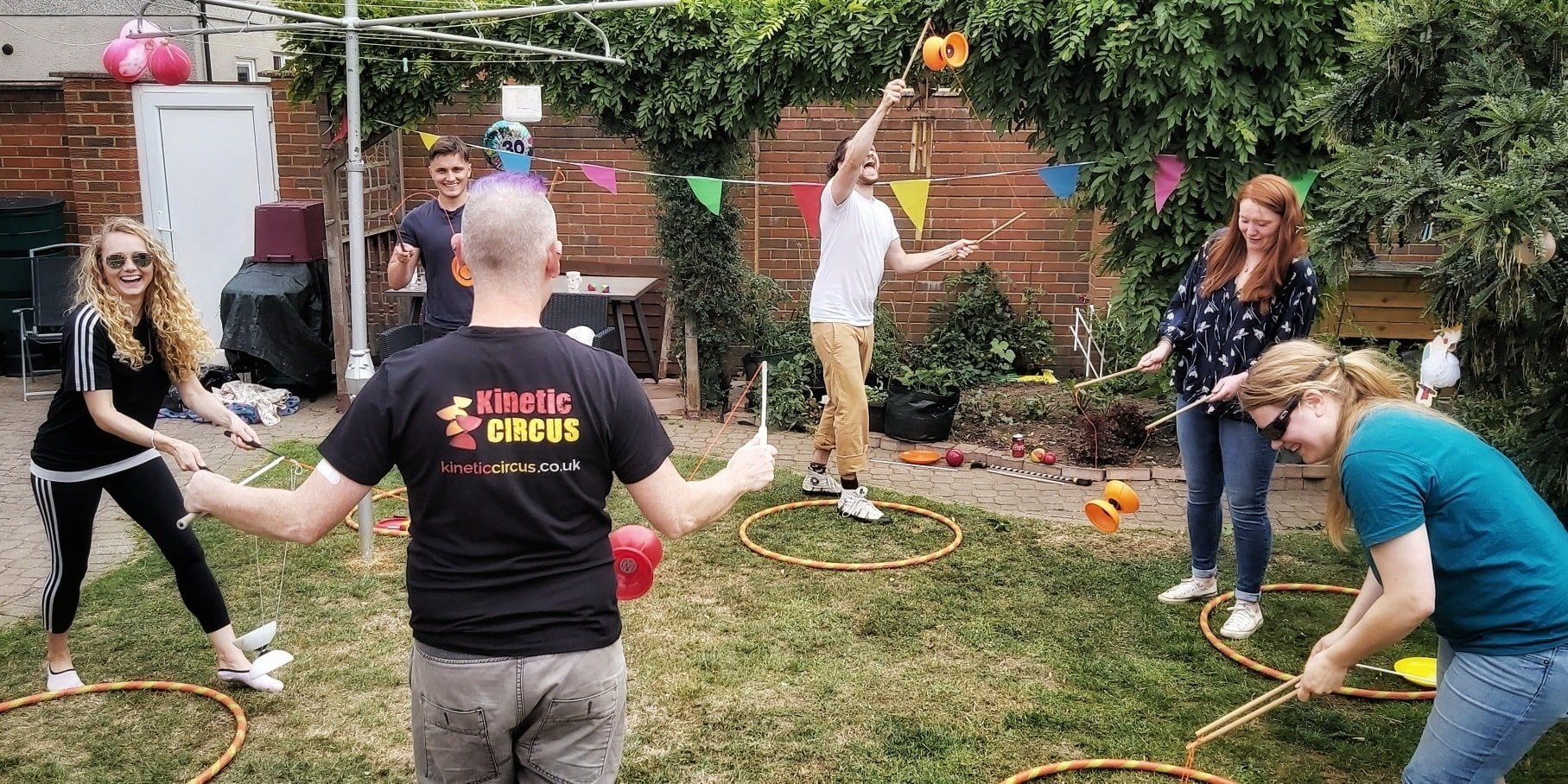 Socially distance adult birthday party circus workshop